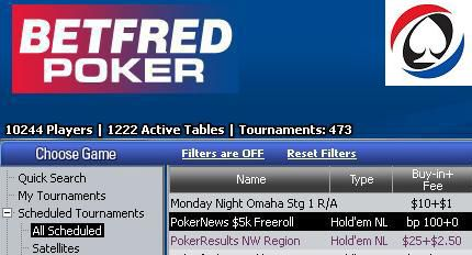 Betfred lobby - PokerNews $5k freeroll