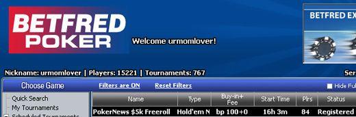 Hoje às 16:35 ,000 PokerNews Cash Freerolls na Betfred Poker 101