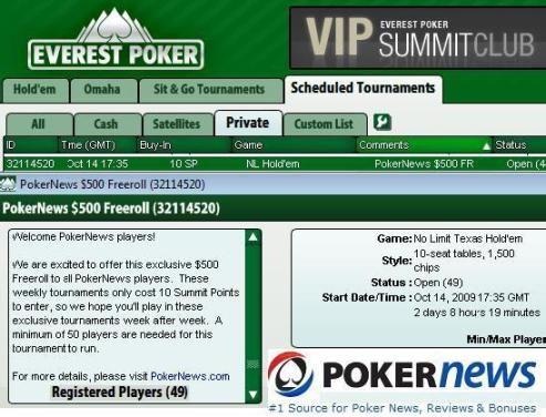 ¡Juega nuestros exclusivos freerolls de 500$ en Everest Poker! 101