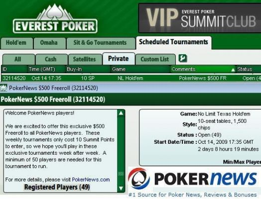 Everest Poker Lobby - $500 PokerNews freeroll