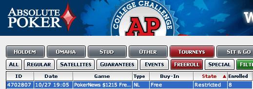 Hoje às 23:05 PokerNews 15 Freeroll na Absolute Poker 101