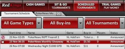 RedKings lobby - PokerNews Giveaway turnering