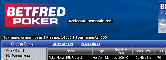 Domingo às 16:35 ,000 PokerNews Cash Freerolls na Betfred Poker 101