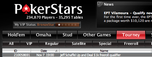 Hoje às 19:00 Jeff Schaffel Up and Deal ,000 Freeroll Qualifier na PokerStars 101