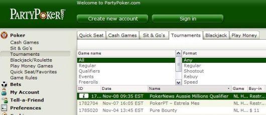 PartyPoker Aussie 百万比赛资格赛 101