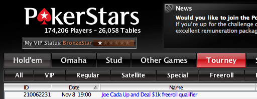 Hoje às 19:00 Joe Cada Up and Deal ,000 Freeroll Qualifier na PokerStars 101
