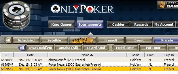 ,000 Cash Freeroll from OnlyPoker 101