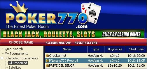 0 exkluzív PokerNews/Poker770 Cash Freeroll 101