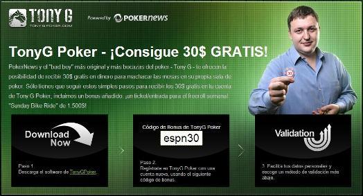 ¡Increíble nueva oferta de 30$ de Tony G Poker, exclusiva en PokerNews! 101