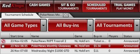 Red Kings Poker Lobby PokerNews Tournament