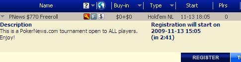 Hoje às 18:05 Torneio Semanal 0 Cash Freeroll na Poker770 101