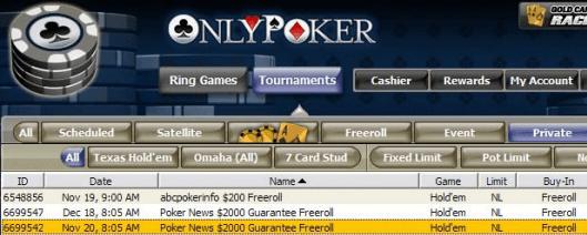 Freeroll exclusivo de OnlyPoker con 2.000$ en premios 101