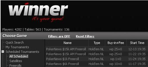 Winner Poker lobby - PokerNews freerolls