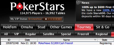 Hoje às 18:30 ,000 Cash Freerolls na PokerStars 101