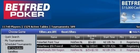 k Cash Freerolle na Betfred 101