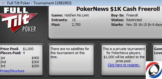 $1,000 PokerNews фрийрол