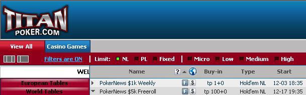 ,000 Cash Freeroll Series na Titan Poker 101
