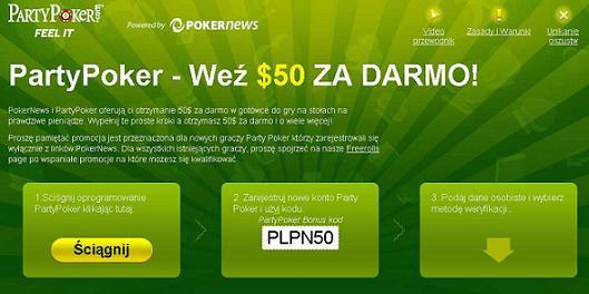 $50 za darmo na PartyPoker!