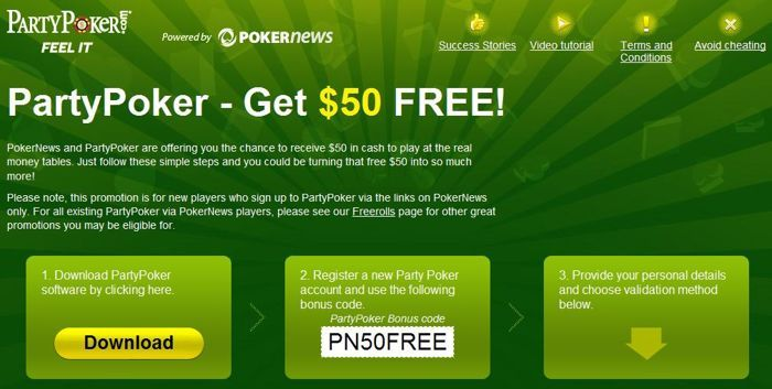 Get $50 at PartyPoker from PokerNews!