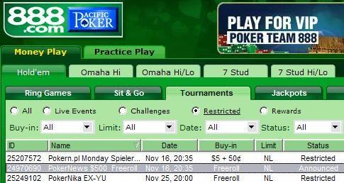 0 série freerollů na 888 Poker 101