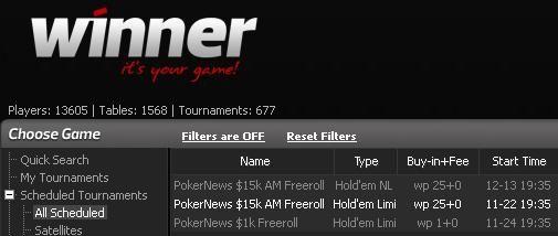 $15k Aussie Winner Poker Lobby