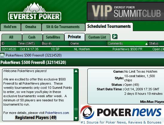 Az Everest Poker ontja magából az Exkluzív PokerNews Cash Freeroll versenyeket 101