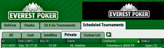 0 PokerNews Cash Freerolls Series no Everest Poker 101