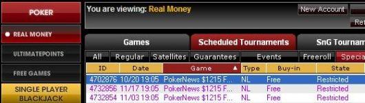 UB.com lobby z freerollem Pokernews