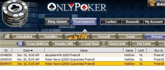 Only Poker lobby - $2000  freerolls