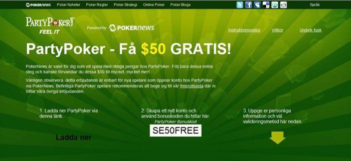 $50 GRATIS hos PartyPoker - UTAN insättning