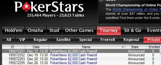 PokerStars lobby - PokerNews $2000 freerolls