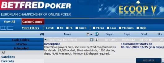 5K PokerNews Betfred Cash Freeroll