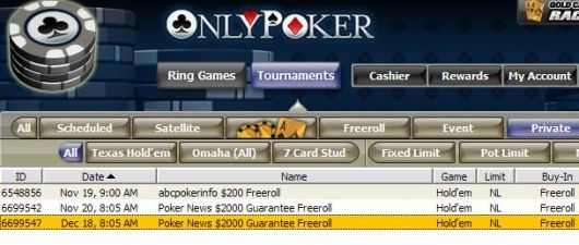 Only Poker - $2000 freeroll