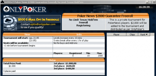 Último Freeroll PokerNews .000 do ano no Only Poker 101