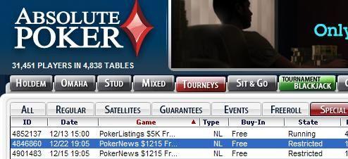 Pokerio freeroll - Absolute Poker 15 nemokamas turnyras 101