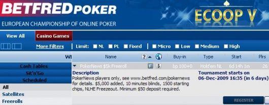 Betfred Poker Lobby