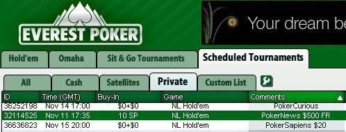 $500 Pokernews Freeroll w lobby Everest Poker