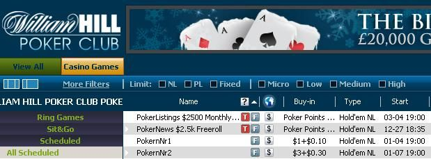,500 Cash Tourneys at William Hill 101