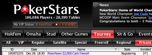 Último (de 2009) ,000 PokerNews Cash Freeroll na PokerStars 101