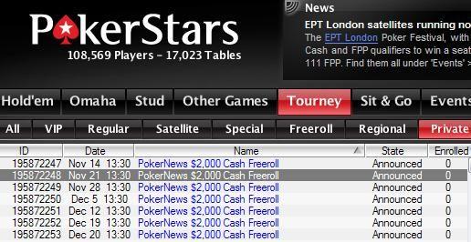 $2000 PokerNews Freeroll w lobby Pokerstars