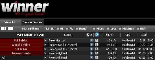 Freeroll Pokernews w lobby Winner Poker