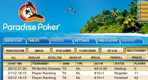 Turniej PokerNews w lobby Paradise Poker