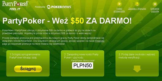 Darmowe $50 od PokerNews na Party Poker