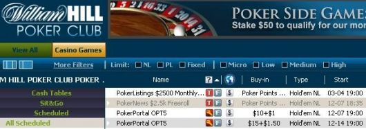 $2,500 Freeroll PokerNews w lobby William Hill Poker