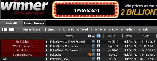 Classifique-se para o .000 Cash Freeroll no Winner Poker - ÚLTIMO DIA 101