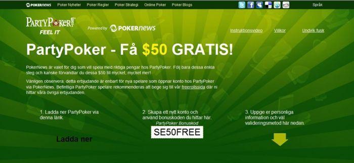 Gratis $50 från Party Poker - Använd bonuskoden som anges på bilden