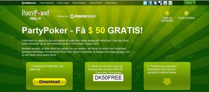 Party Poker $ 50 gratis - Brug bonus koden du ser på billedet