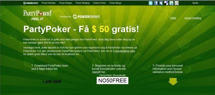 Party Poker Free $50 - Bruk bonuskoden vist på bildet