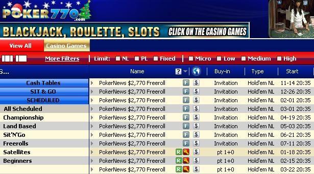 Year-long Poker770 ,770 Cash Freeroll Series 101