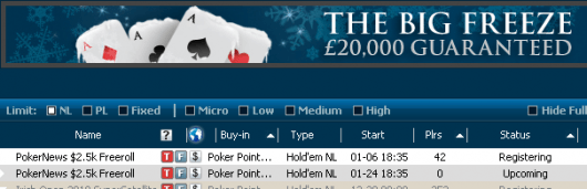 Hoje às 18:35 ,500 PokerNews Cash Freeroll na William Hill 101